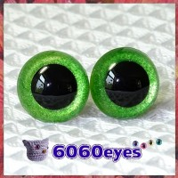 1 Pair Green Glitter Hand Painted Safety Eyes Plastic eyes