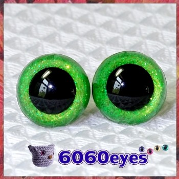 1 Pair Lime Green Glitter Hand Painted Safety Eyes Plastic eyes