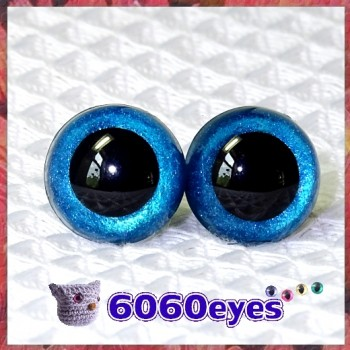 1 Pair Ocean Blue Glitter Hand Painted Safety Eyes Plastic eyes