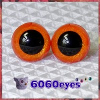 1 Pair Orange Glitter Hand Painted Safety Eyes Plastic eyes