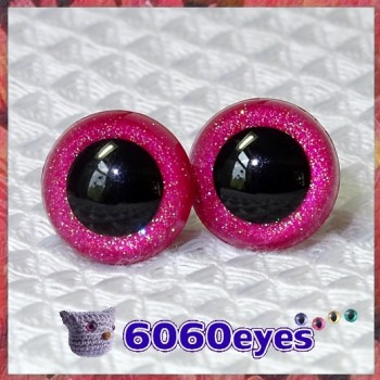 1 Pair Pink Glitter Hand Painted Safety Eyes Plastic eyes