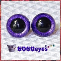 1 Pair Purple Glitter Hand Painted Safety Eyes Plastic eyes