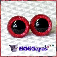 1 Pair Red Glitter Hand Painted Safety Eyes Plastic eyes