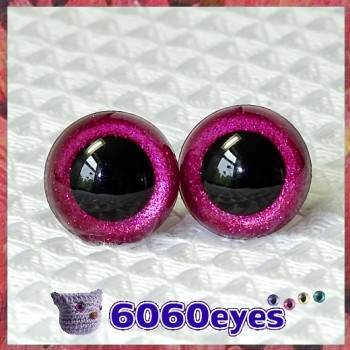 1 Pair Red Plum Glitter Hand Painted Safety Eyes Plastic eyes