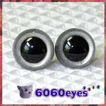 1 Pair Silver Glitter Hand Painted Safety Eyes Plastic eyes