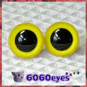 1 Pair Yellow Glitter Hand Painted Safety Eyes Plastic eyes