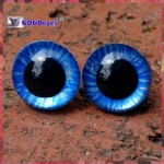 1 Pair 12mm Metallic Blue Tiger Hand Painted Plastic eyes, Safety eyes, Animal Eyes, Round eyes