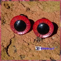 1 Pair 12mm Metallic Pink Tiger Hand Painted Plastic eyes, Safety eyes, Animal Eyes, Round eyes