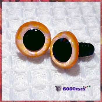 1 Pair Orange Pink Hand Painted Safety Eyes