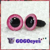 1 Pair Pink Wild Roses Hand Painted Safety Eyes