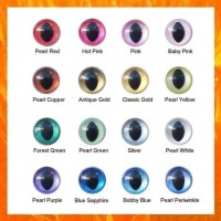 5 Pairs 15mm Hand Painted PEARLTALLIC Plastic Cat eyes, Safety eyes, Animal Eyes, Round eyes