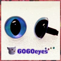 1 Pair Blue Gray Hand Painted Safety Eyes Plastic eyes Amigurumi eyes, Craft eyes, Animal eyes