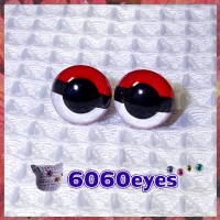 1 Pair PokeBall Hand Painted Safety Eyes