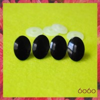 3 PAIRS 22mm x 15mm Oval Black Plastic eyes, Safety eyes, Animal Eyes, Round eyes