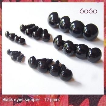 12 Piece 6-Size Black Plastic Eye Sampler, Safety eyes, animal eyes, samplers
